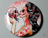 2.25 inch Pin Back Button - Eternity - Day of the Dead Sugar Skull Girl Calavera Colorful Pin Up Tattoo Art Pin