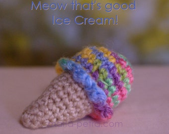 Mini Crochet Ice Cream Cone > Cat Toy > Crochet > Gifts for Purr