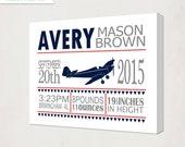 Boy's Plane Birth Announcement Art Canvas // Baby's Airplane Print on Canvas // Kid's Nursery Wall Art Canvas // blue grey red