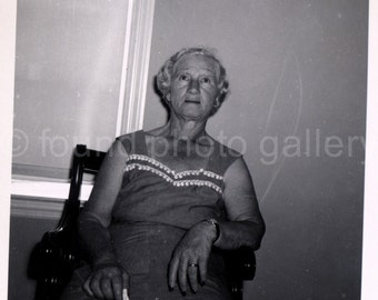 Vintage Photo, Elderly Woman Sitting in Chair, Black & White Photo, Deckled Edge, Old Photo, Snapshot, Found Photo