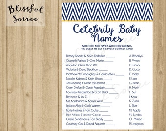 Celebrity Baby Shower Game | Printable Celebrity Baby Name Match | Nautical Navy and Gold | Chevron | BS07