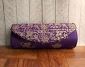 Indian wedding, Sari Clutch Purse, Violet clutch, purple clutch, purple and Gold Evening Bag, Exotic