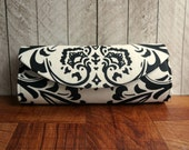 Damask clutch bag, cotton clutch purse, black and white clutch, casual clutch, gift for her