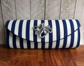 Navy blue clutch, blue and white striped clutch, nautical clutch purse with silver, gold, or bronze octopus. Nautical wedding, Made to order