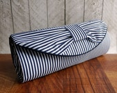 Nautical clutch. Navy blue clutch bag, blue and white stripe bow clutch purse. Wedding clutch. Nautical wedding