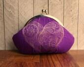 Embroidered purse, heart clutch, mendhi henna design, purple clutch purse, silk clutch, personalized bag, magenta clutch, violet, wristlet
