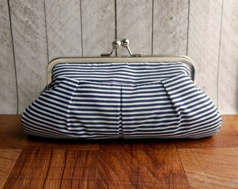 Nautical clutch, framed evening bag, nautical wedding, bridesmaid clutch, navy blue clutch purse, striped clutch