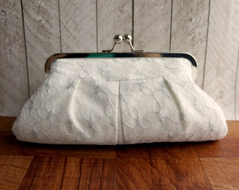 White and silver clutch, silver flowers, wedding clutch, bridal purse, frame white lace clutch, lace and silk