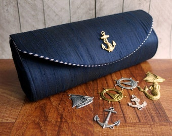 Nautical clutch, navy blue clutch, silk clutch, bridesmaid clutch, bridesmaid bag, nautical wedding, custom clutch