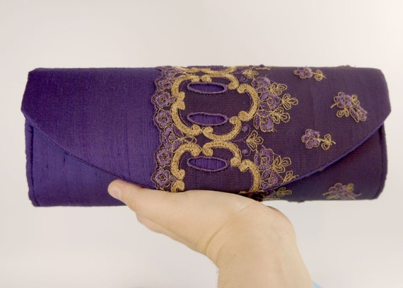Purple clutch, silk clutch bag with bronze lace overlay, Lace fashion, Clutch purse