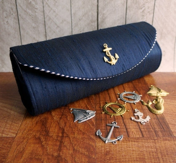 Nautical clutch, navy blue clutch, silk clutch, bridesmaid clutch, bridesmaid bag, nautical wedding