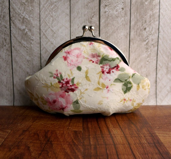 Small clutch, framed ivory clutch purse wristlet with floral lace, pink and red flowers, silk clutch, personalized clutch, wrist strap