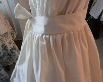 Edwardian -Victorian Era Style Natural Domestic Cotton Apron Long Half Large Hand-tied Back Bow HandMade