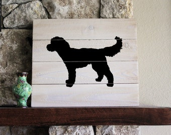 Goldendoodle Silhouette (Black) -  White-Washed Distressed Wood Sign, Goldendoodle Sign, Wood Goldendoodle, Goldendoodle Art, Doodle Sign