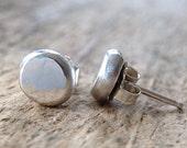 Flat Pebble Earrings, Sterling Silver Stud Earrings, Silver Post Earrings, 925 Stud Earrings, Ball Studs, Sterling Studs, Bohemian Jewelry