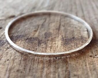 Sterling Silver Bangle, Square Wire Bracelet, Hammered Silver Bracelet, Thin Silver Bangle, Hammered Bangle, Boho Bracelet, Bohemian Jewelry