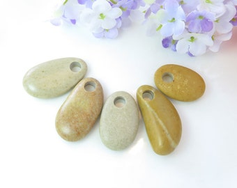 Top Drilled Grey Beach Stones 5 pcs Jewelry  Eco Friendly Beads Beach Pebbles for Crafts DIY