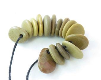 Top Drilled Beach Pebbles 15 pcs, Jewelry Pendants, Rare Stones, Eco Friendly Beads,Design ideas, Crafts, Necklace DIY