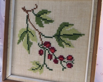 Vintage Cross Stitch Needlework of Cherries and Leaves Wall Hanging Framed