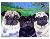 Pug art Black pug fawn pug art painting landscape ORIGINAL Dog Art pugs whimsical