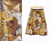 Animal Print Wrap Skirt • 70s Skirt w/ Tigers and Lions and Giraffes | SK267