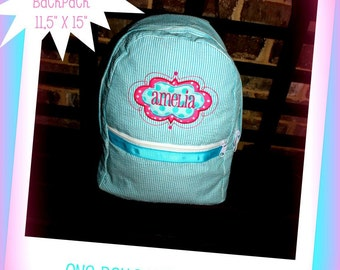Medium Personalized Seersucker Aqua Applique Backpack
