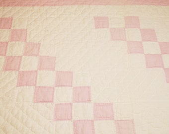 Pretty Pink Feed Sack and Creamy White Four Patch Vintage Quilt Piece - 30 by 19 Inches