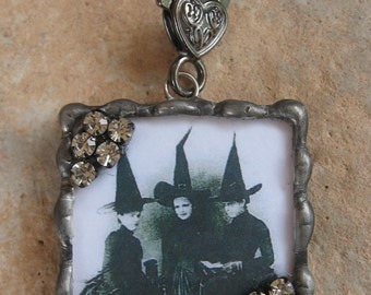Halloween, soldered glass, rhinestone pendant, witch charm, witch pendant, picture charm, soldered pendant, custom made picture charm