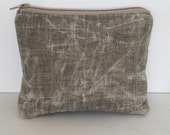 Waxed Linen Clutch, Brown Leather Clutch Purse, Cosmetic Case, Make Up Bag, Small Clutch Bag, Zippered Pouch