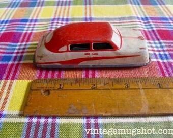 "Cool Red  Vintage Toy Car 4""  Widows Go Down When It Rolls Argo japan 1940's"