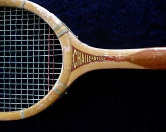Vintage Wright and Ditson Challenge CUP Wood Tennis Racquet  Dated 1928