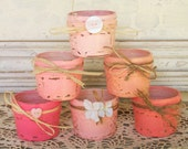 6 Handpainted Shades of Pink Fruit Jars with a Distressed Faux Finish