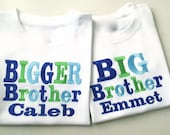 Sibling Title with Name Shirt or Onesie  Embroidered ,Big/Biggest/Bigger/Lil,Brother/Sister/Baby