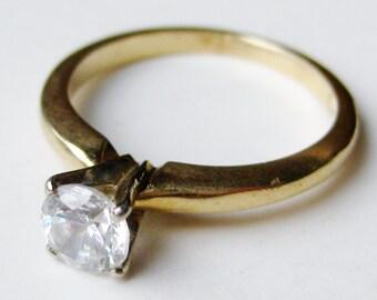 Vintage 14k Yellow Gold Faux Diamond CZ Engagement Ring size 4 1/4