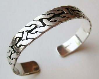 Vintage Sterling Silver Woven Design Cuff Bracelet