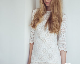 NOD TO MOD Vintage 60's lace wedding reception dress