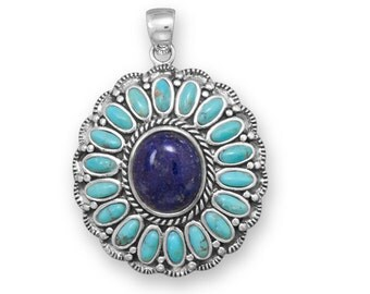 Oxidized Turquoise and Lapis Flower Pendant in 925 sterling Silver