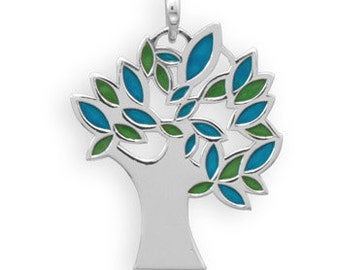 Blue and Green Enamel Tree Pendant in 925 Sterling Silver