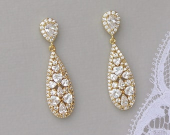 Gold Crystal Bridal Earrings, Gold Tear Drop Earrings, CLIP ON Option, Bridal Jewelry, RITA Tear Drop