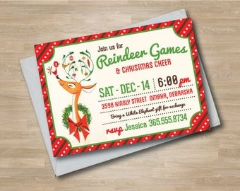 Christmas Party Invitation, Retro Kids Reindeer Games Holiday Invite, Red and Green, Classic Christmas