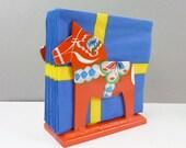 Dala Horse Napkin Holder, Letter Holder, Akta Dalahemslojd -Grannas A. Olsson- Swedish Folk Art-Vintage-Hand Painted Red Horses