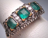 Rare Antique Victorian Emerald Diamond Wedding Ring Band Vintage 1800