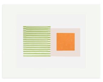 Silkscreen print by Emma Lawrenson. Abstract, bright, minimal modern art, Mid Century Modern