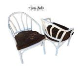 Bamboo Chair Pair Horse Hide Hair On Hide Cushion White Lacquer Rattan Arm MCM Mid Century Asian Palm Beach Modern Chinoiserie Chippendale