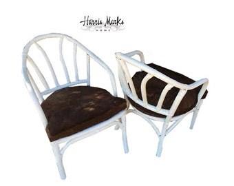 bamboo chair pair horse hide hair on hide cushion white lacquer rattan arm mcm mid century