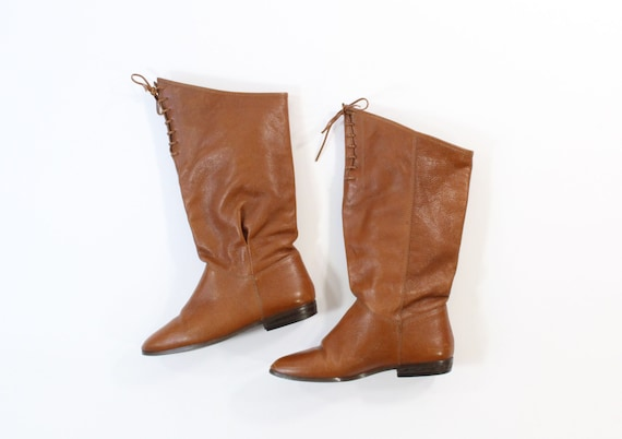 vintage 1980s pixie boots brown leather size 6