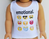 "18 inch Doll Clothes - Graphic Tee - ""Emotional"", White Tank Top, Emoticons, AG Doll"