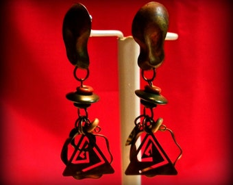 Crazy Abstract Copper Eighties Earrings