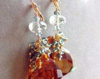 Madeira Citrine Green Amethyst Hessonite Garnet Green Quartz Fancy Cut Trillion Gemstone Earrings