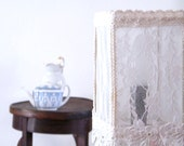 Reserve to Janine- one Vintage Table Lamp Shade made from antique lace, Bedroom lighting, Floral  Romantic Shabby chic lamps,  home decor